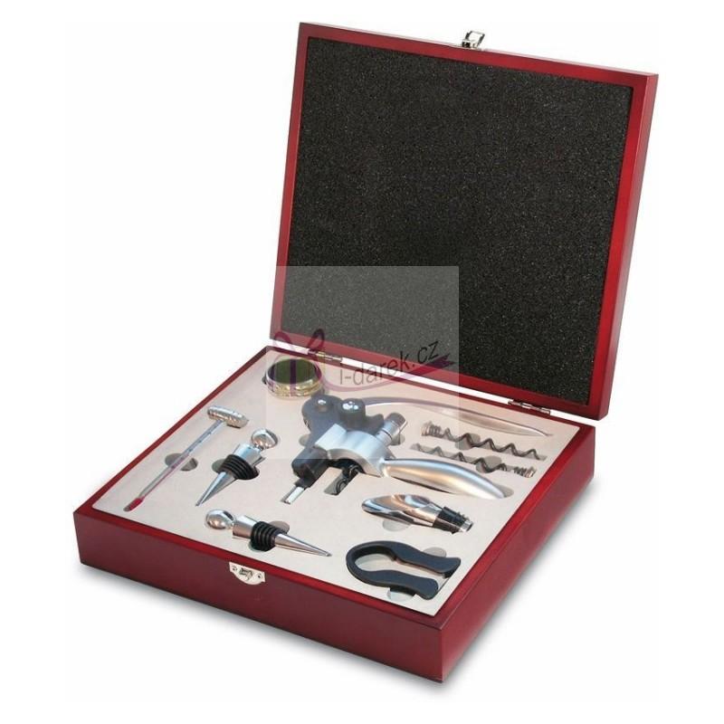 Luxusní sada v dřevěném boxu - 9 nástrojů v setu na víno