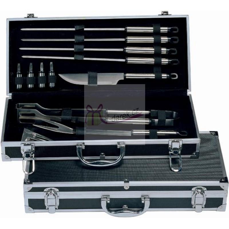 12ks nářadí na grilování v černém kufříku