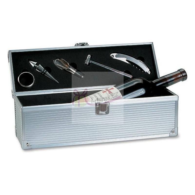 Luxusní kovový obal na 1 víno - 5 nástrojů v setu k vínu (Vinná sada v kovovém boxu na 1 víno - 5-dílný set)