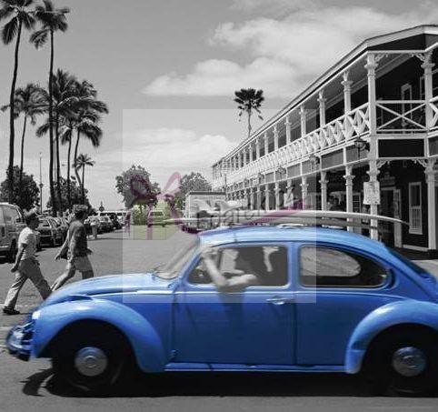 Korkové prostírání malé 10,5x10,5cm sada 4ks - Modré auto
