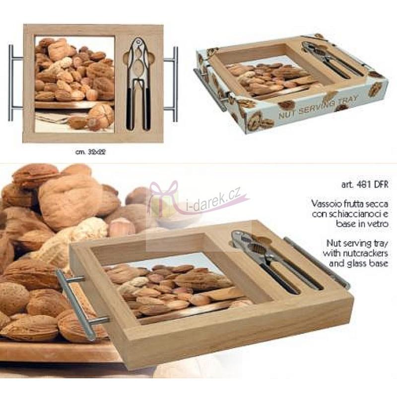 Luxusní dřevěný tác a kleště na ořechy
