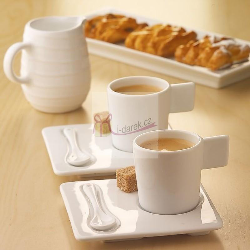 Sada na espresso Café del Duomo 2 šálky s podšálky a lžičkami