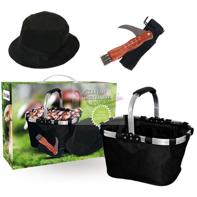 Set pro houbaře-nůž, košík a klobouk