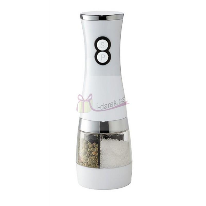 Bílý elektrický mlýnek - pepř a sůl