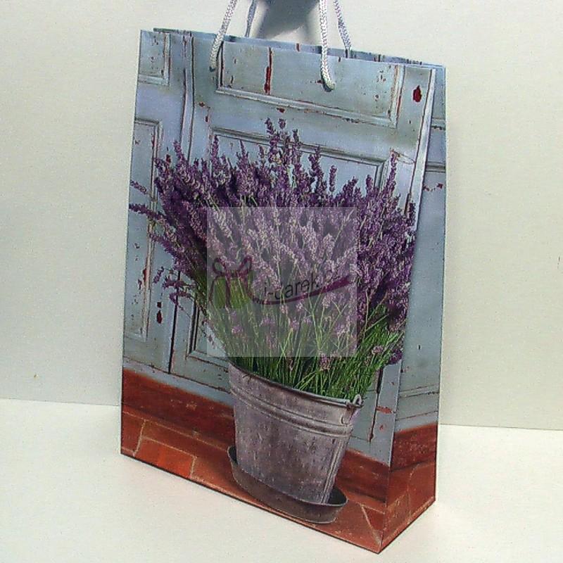 Papírová dárková taška - levandule v plechu