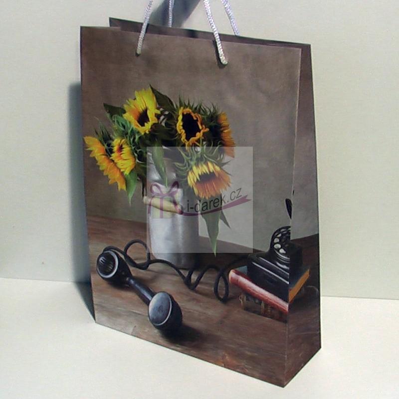 Papírová dárková taška 25x35cm - retro slunečnice