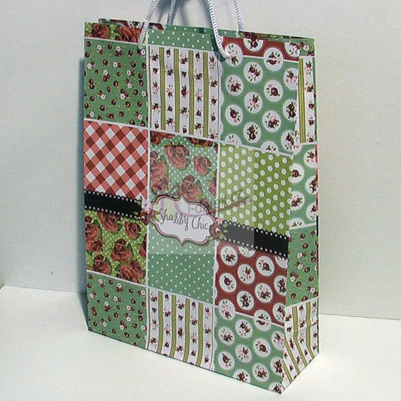 Papírová dárková taška - retro růže