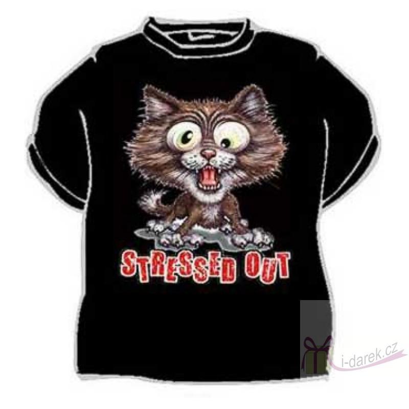 Vtipné tričko kočka antistres STRESSED OUT