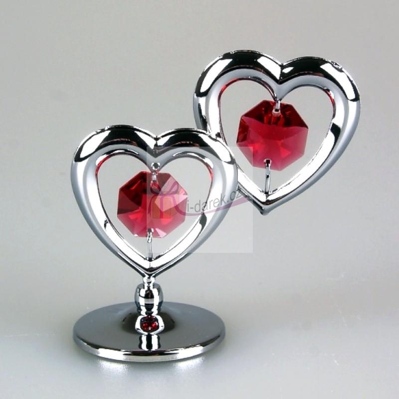 Dvě zamilované srdce Swarovski - stříbrná