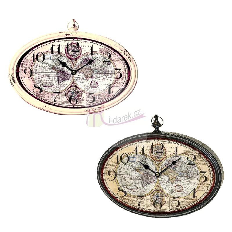 Nástěnné retro kovové hodiny oválné - MAPA SVĚTA