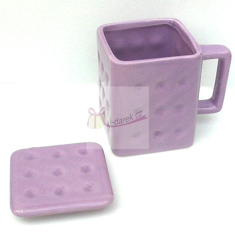 Moderní hranatý hrnek s víčkem - BISCUIT sušenka