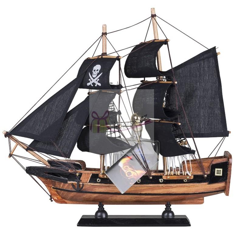 Pirátská loď se skleněnou láhví 0,1l švestka 40%