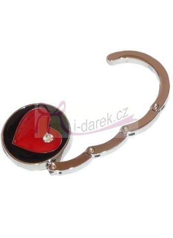Háček na kabelku jako šperk červené srdce s kamínkem