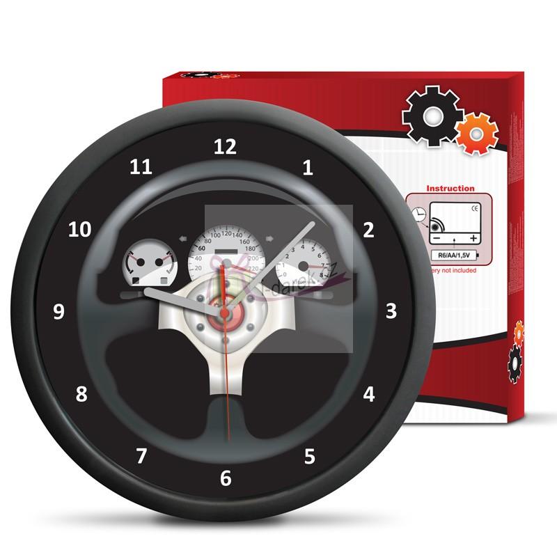Nástěnné hodiny motiv palubní deska auta