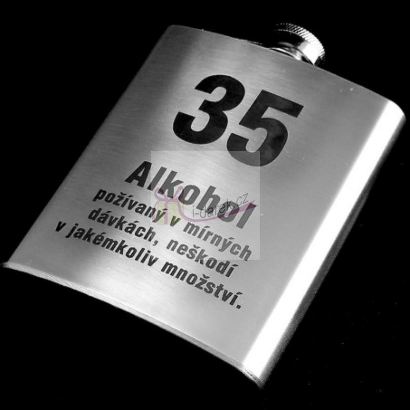 vtipné přání k 35 narozeninám Pro muže | Kovová placatka   butylka jubileum výročí 35 let  vtipné přání k 35 narozeninám