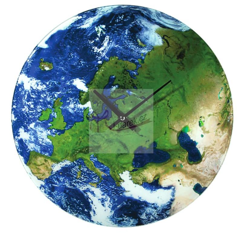 Skleněné hodiny EARTH - SATELITNÍ FOTKA ZEMĚ