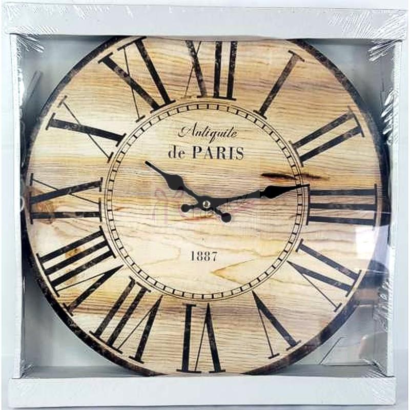 Nástěnné hodiny Paříž - světlé dřevo