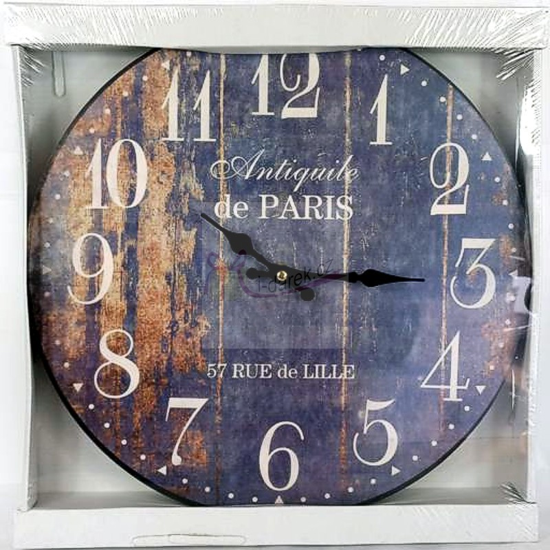 Nástěnné hodiny Paříž - tmavé dřevo