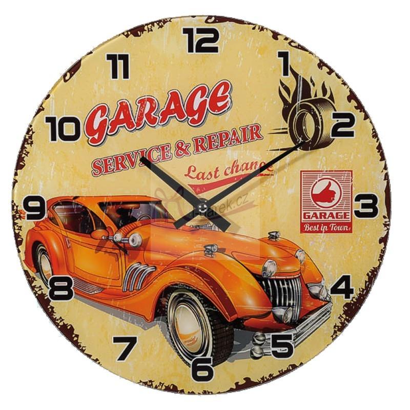 Skleněné nástěnné retro hodiny - GARAGE