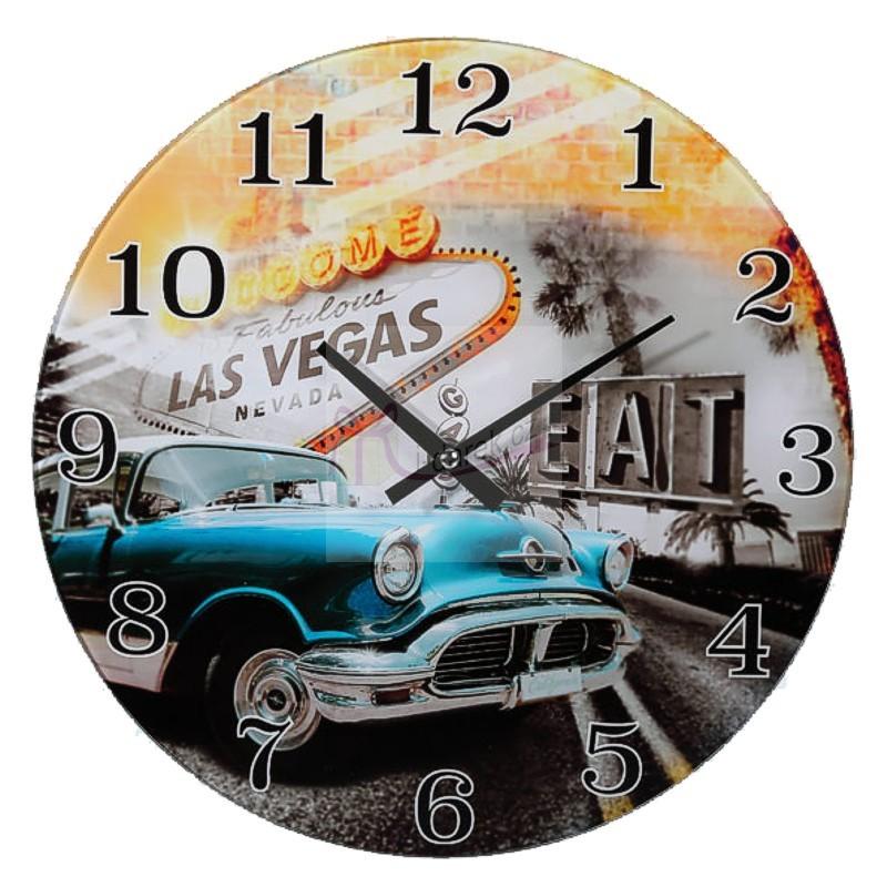 Skleněné nástěnné retro hodiny - LAS VEGAS