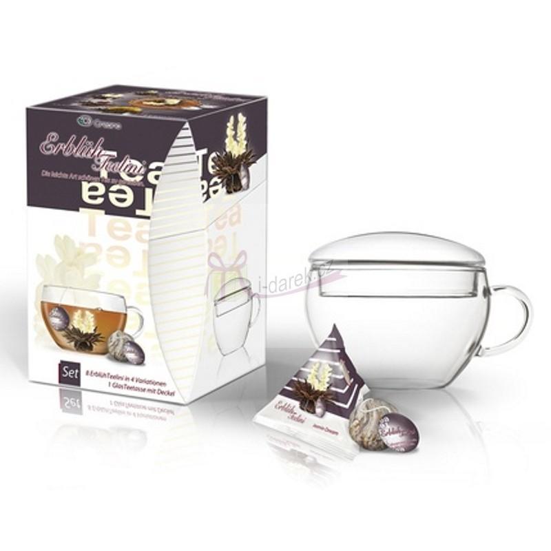 Kompletní dárková sada - 8 ks černý kvetoucí čaj Abloom Tealini+čajový šálek