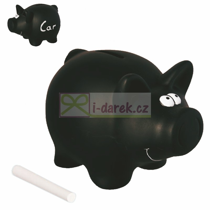 Popisovací kasička - pokladnička černé prasátko