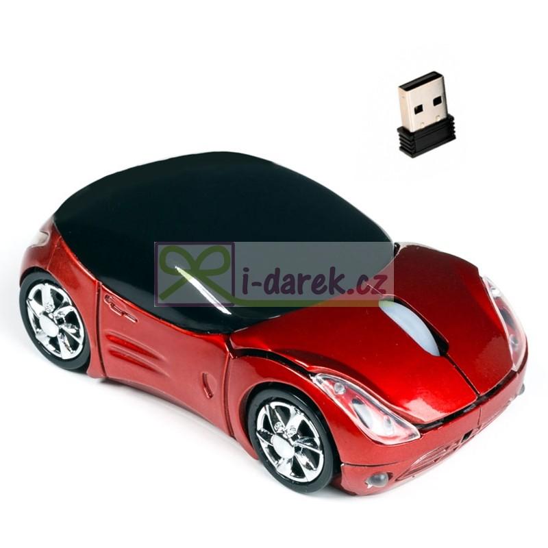 Bezdrátová optická myš - červené závodní auto