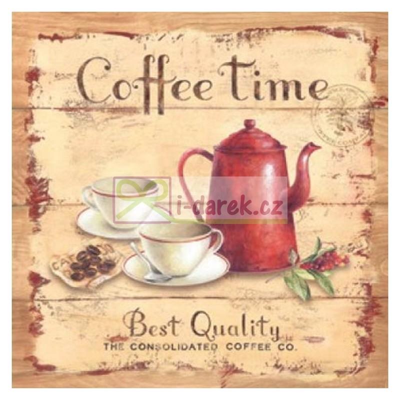 Korkové prostírání malé 10,5x10,5cm sada 4ks - Coffee time