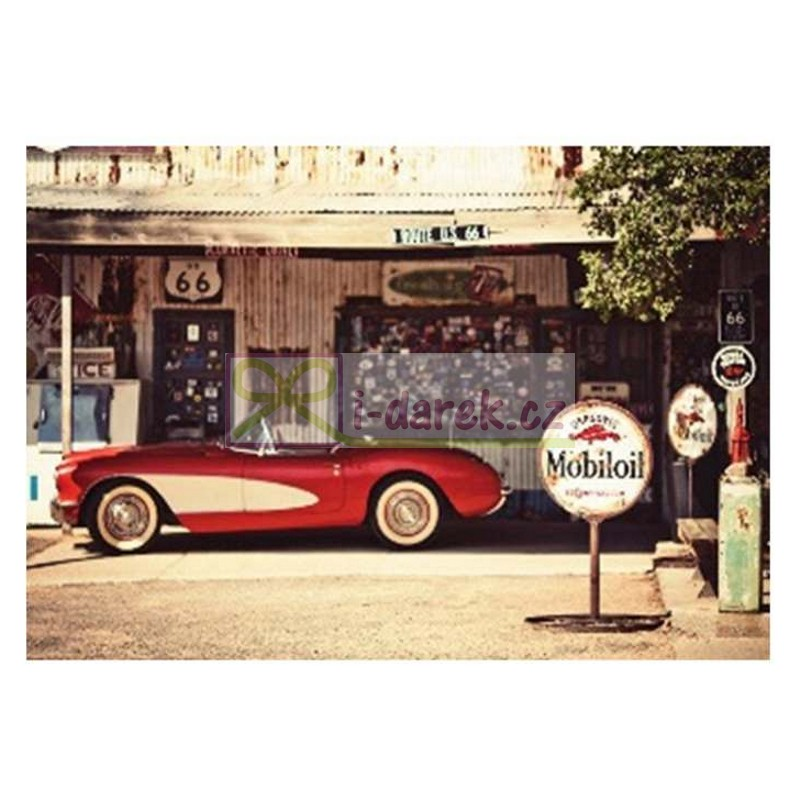 Papírová dárková taška 34x25cm - červené retro auto
