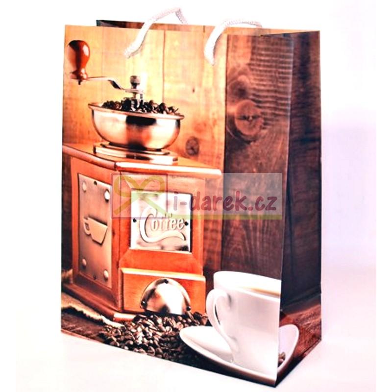 Papírová dárková taška 25x35cm - retro mlýnek na kávu