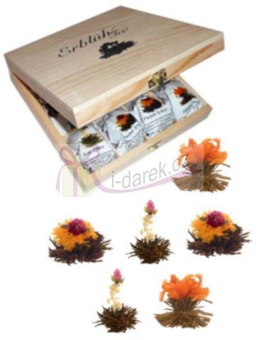 Exkluzivní dřevěná skřínka s černými kvetoucími čaji - 12 ks