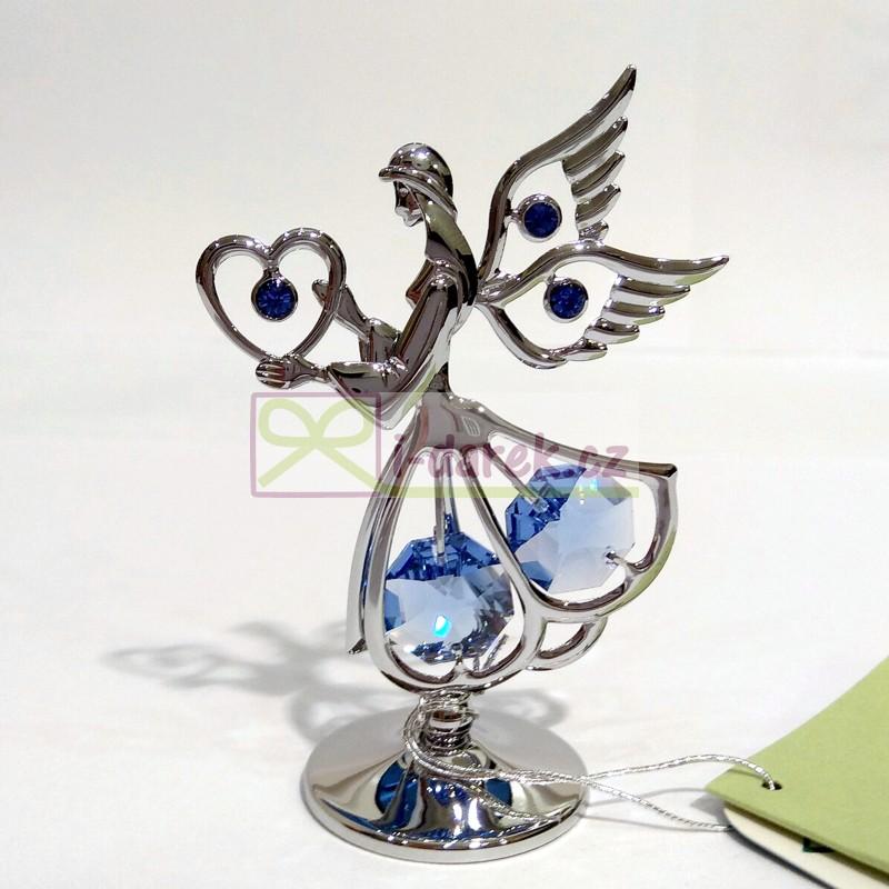 ANDĚL se srdíčkem Swarovski modrý - stříbrná
