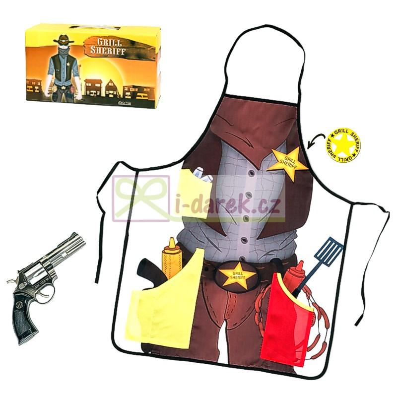 Zástěra Šerif - kovový zapalovač revolver, otvírák hvězda