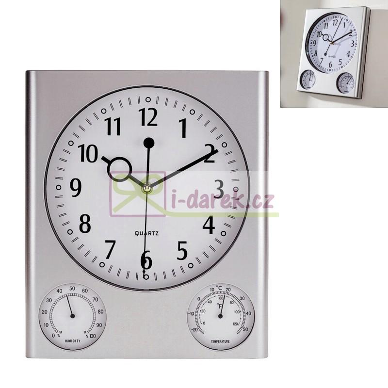 Obdélníkové stříbrné hodiny, teploměr a vlhkoměr