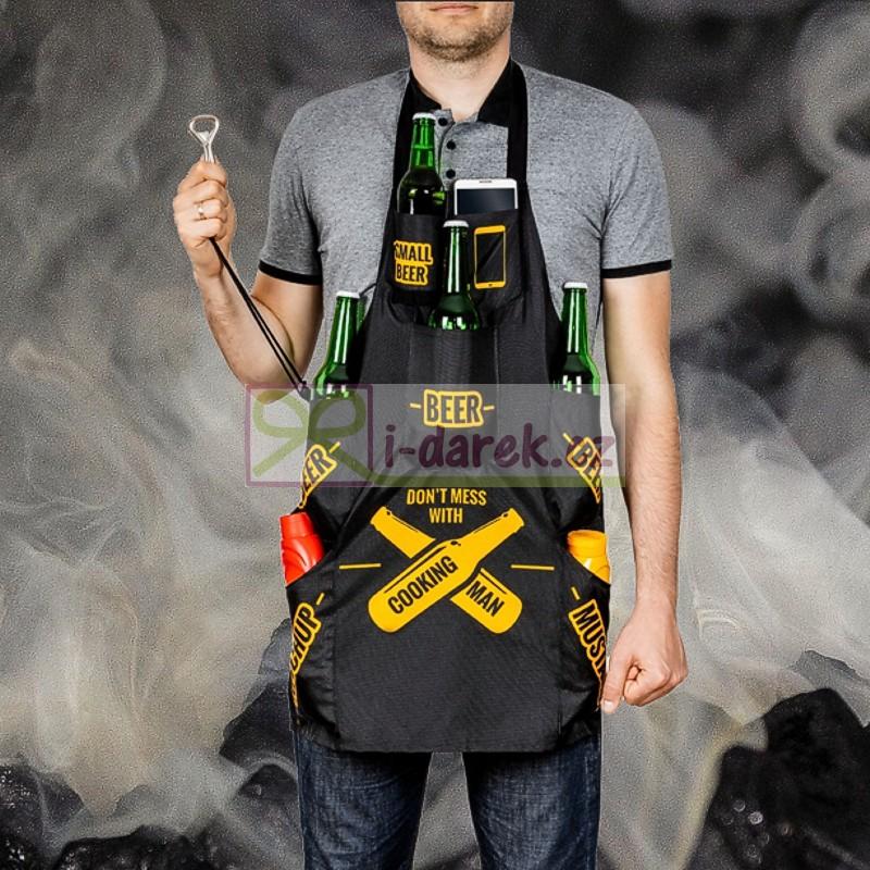 Kuchařská zástěra 7 kapes černá - MAN COOKING