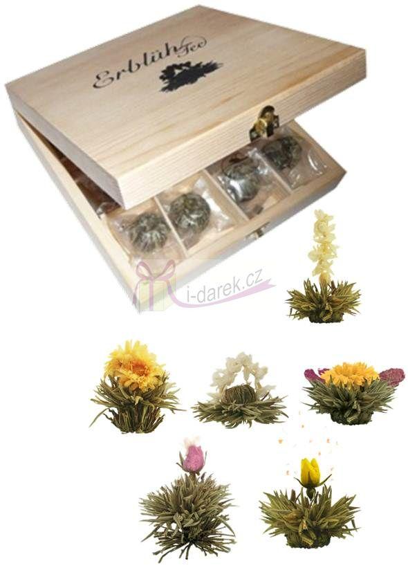Exkluzivní dřevěná skřínka s bílými kvetoucími čaji - 12 ks