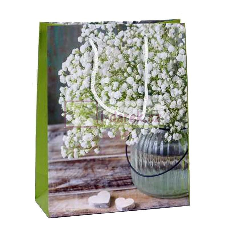 Papírová dárková taška 18x23cm - Bílé květy a srdíčka
