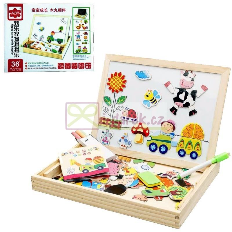Dřevěná magnetická tabulka pro děti