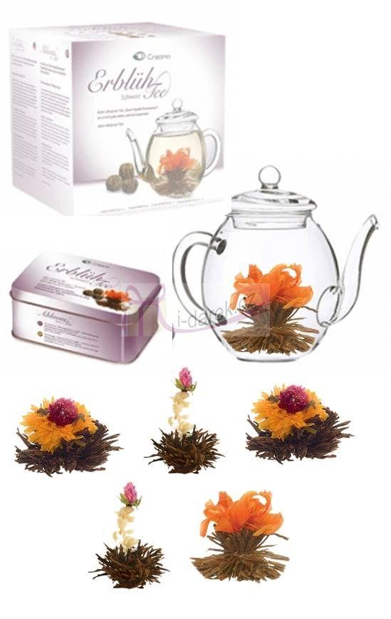 Dárkové balení - 6 ks černý kvetoucí čaj+skleněná konvička Creano 500ml