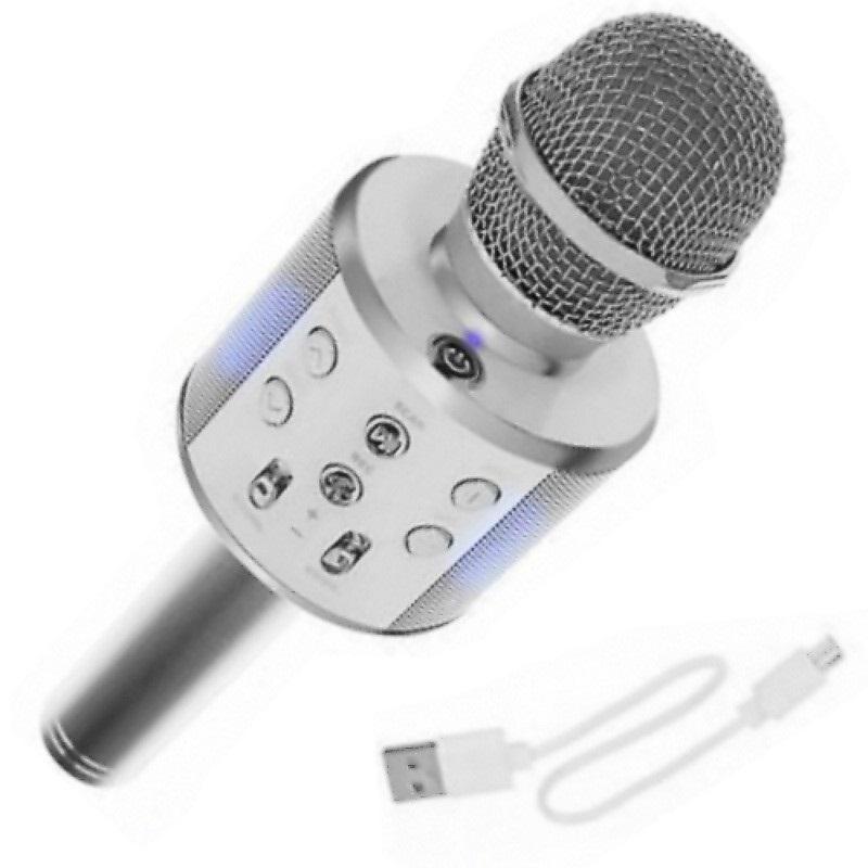 Bezdrátový karaoke mikrofon s reproduktorem – stříbrný
