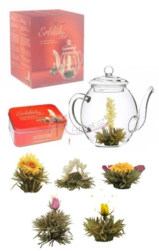 Dárkové balení - 6 ks bílý kvetoucí čaj+skleněná konvička Creano 500ml