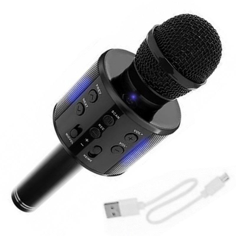 Bezdrátový karaoke mikrofon s reproduktorem – černý