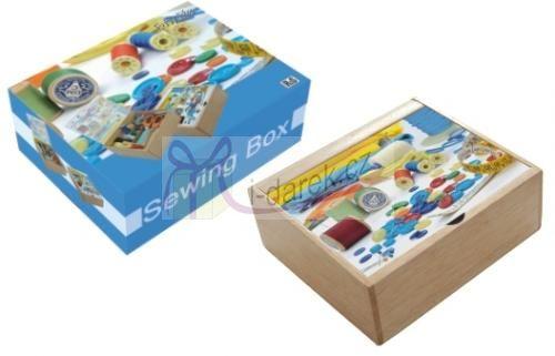 Dřevěný box na šicí potřeby