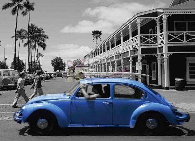 Korkové prostírání velké 40x29cm sada 4ks - modré auto