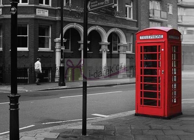 Korkové prostírání velké 40x29cm sada 4ks - Londýn telefonní budka