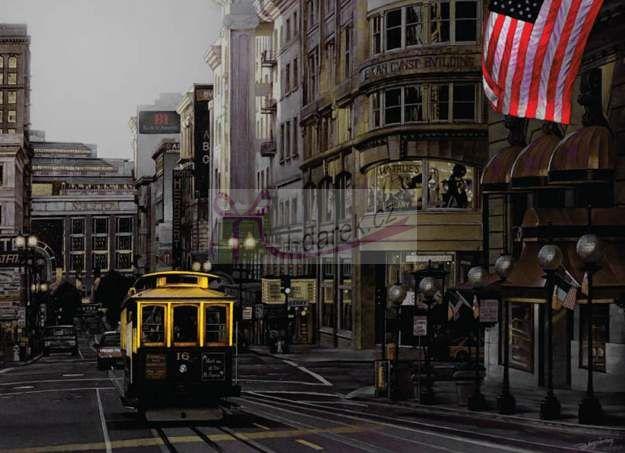 Korkové prostírání velké 40x29cm sada 4ks - tramvaj v L.A.