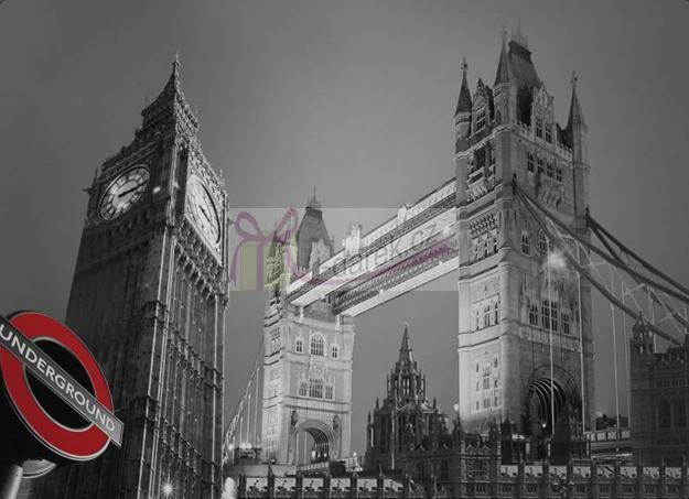 Korkové prostírání velké 40x29cm sada 4ks - Londýn Tower Bridge