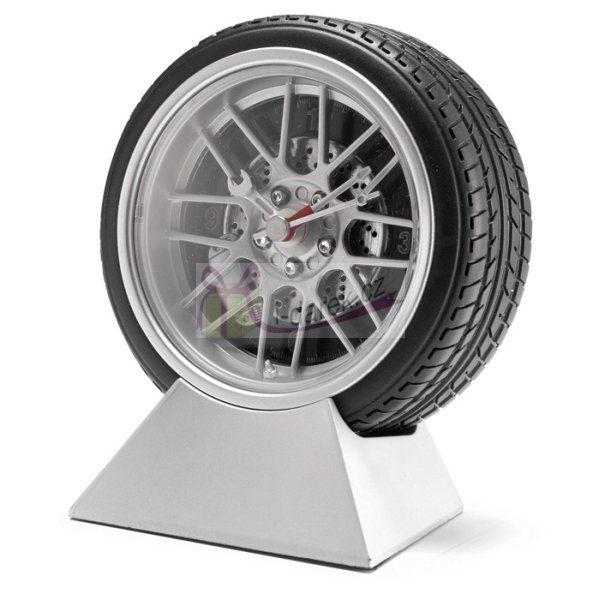 Stylové hodiny na stůl s podstavcem - tvar pneumatika
