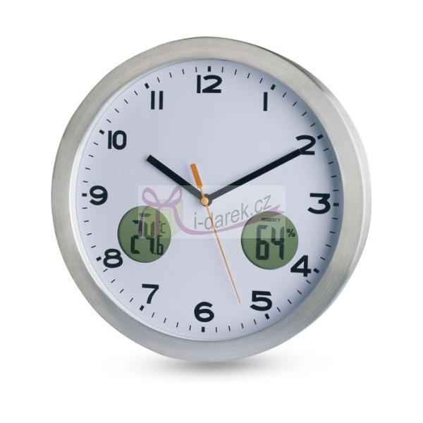Nástěnné hodiny, digitální teploměr a vlhkoměr