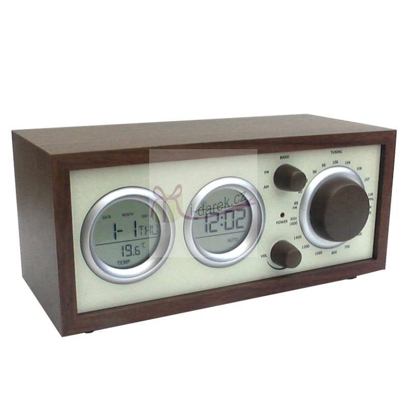 Klasické dřevěné retro rádio, budík, teploměr